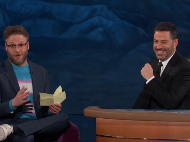 In Las Vegas, Seth Rogen shares his long trail of Vegas misadventures with Jimmy Kimmel