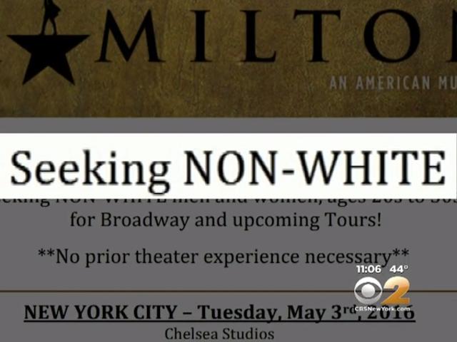 HamiltonAccused of Discrimination for Open Casting Call Seeking 'Non-White' Actors
