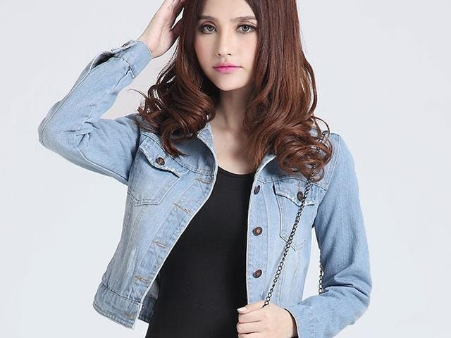 Jaket fesyen baru Jackets Denim Women slim cotton solid Jacket