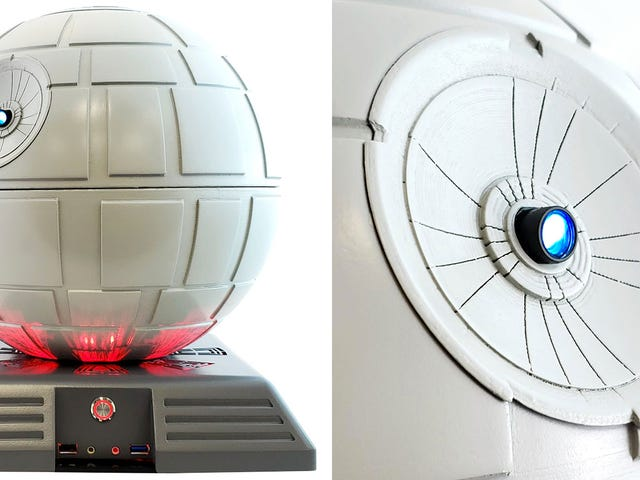 आप सुपर स्टार वीडियो प्रोजेक्टर के साथ इस स्टार वार्स डेथ स्टार पीसी केस को अपग्रेड कर सकते हैं