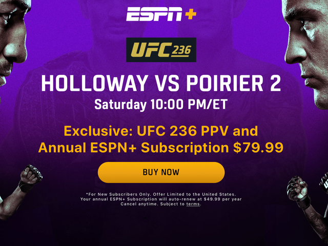 Subscribe to ESPN+, Get the Holloway v. Poirier 2 PPV For Half Price