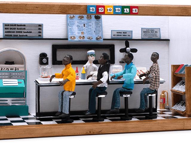 Google startet mit Greensboro, NC, Sit-In Doodle von der Compton-Künstlerin Karen Collins in den Monat der schwarzen Geschichte