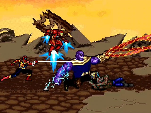 <i>Infinity War's</i>Epic Thanos Fight Would Have Made a Killer 16-Bit Video Game Boss Battle
