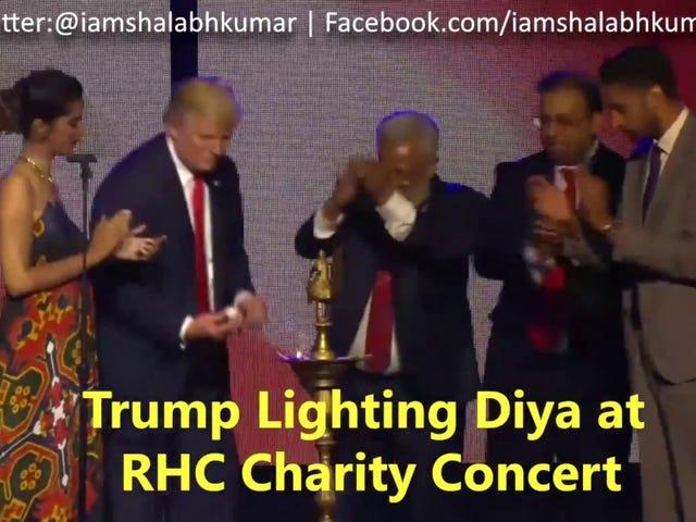 """特朗普""""说出""""印度语在超现实的尝试,以吸引印度裔美国人"""