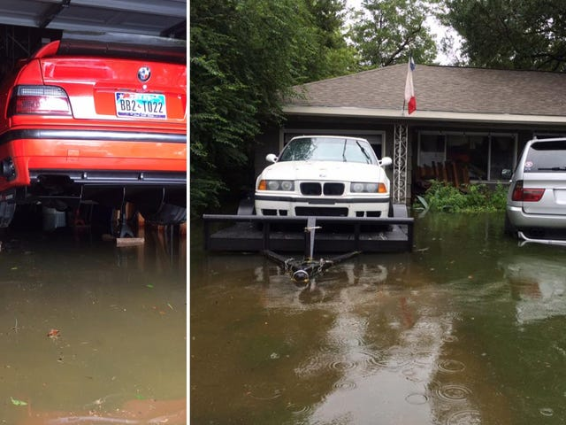 Quick Thinking And Garden Blocks Saved This Guy's BMW X5 And E36 M3s From Harvey (Updated)