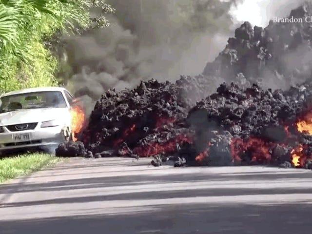 Regardez la lave du volcan Kilauea avaler une Ford Mustang à Hawaii