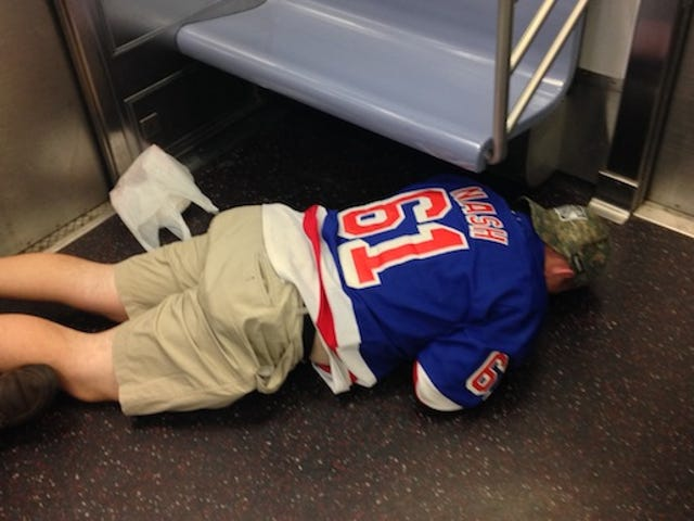 Fallen Rangers Fan Is The Saddest Subway Rider