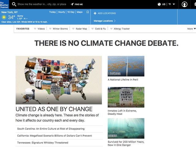 The Weather Channel Homepage Is Out Here Reminding Everyone Climate Change is Real