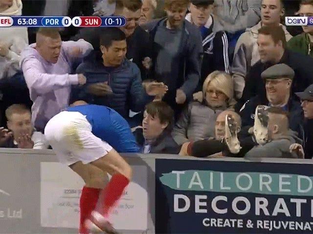 Idiot Portsmouthin fani pidätettiin lyömällä Sunderlandin pelaaja, joka osuu telineisiin