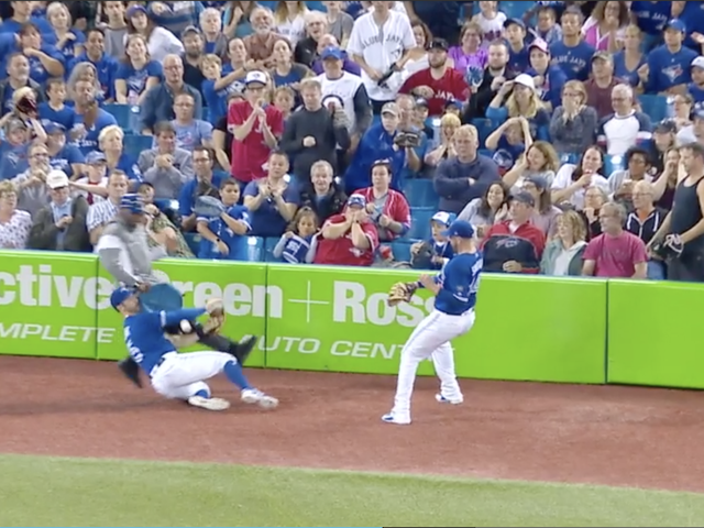Blue Jays' Randal Grichuk Busted Up In Collision With Security Guard's Stool