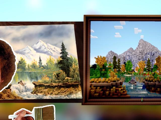 Jemand hat ein Gemälde von Bob Ross in Minecraft nachgebildet