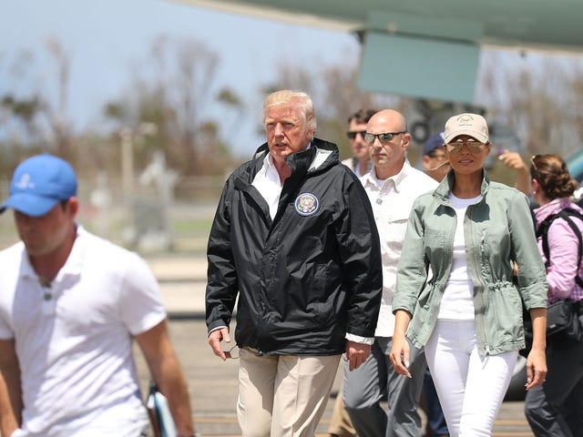 Trump Lands in Puerto Rico and Delivers Drunken-Uncle Speech, Notes That Officials Should Be Proud That More Haven't Died