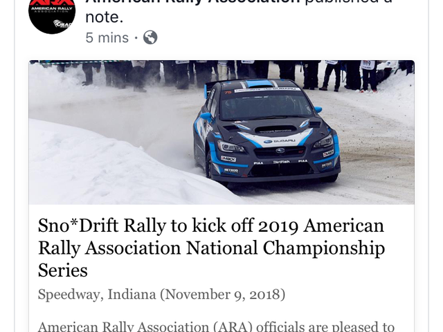 Sno*Drift Switching to ARA Fromm Rally America