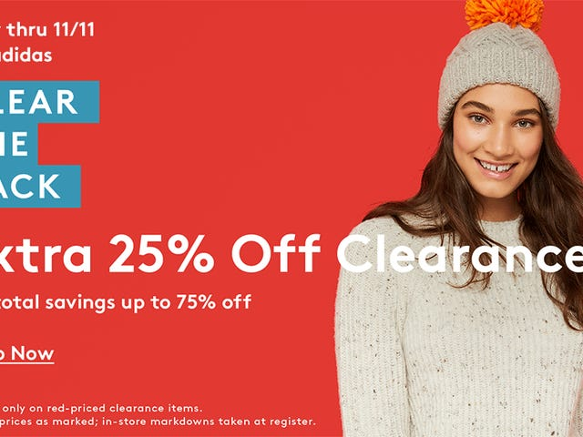 Clear The Rack Means An Extra 25% Off Over 14,000 Clearance Styles