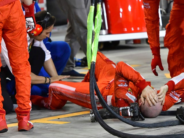Ferrari Pit Mechanic's Leg Gets Bent In Several Wrong Directions By Accelerating Car