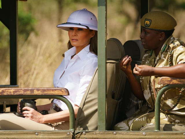 Melania Wore a Pith Helmet on Her African Adventure, a Very Interesting Choice