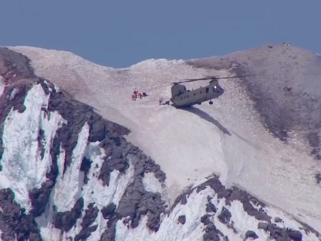 Daring Mountain Rescue Features Helicopter Parking Its Butt Right On The Snow