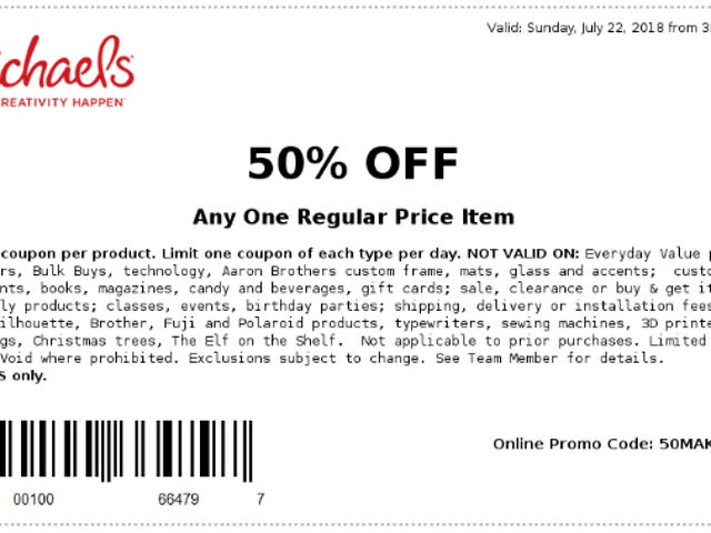 Michaels 50% Off-3PM to Close-TODAY ONLY