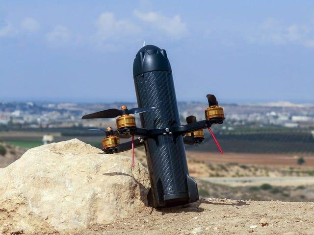 Este dron con forma de misil caza otros máy bay không người lái y los derriba embistiéndolos