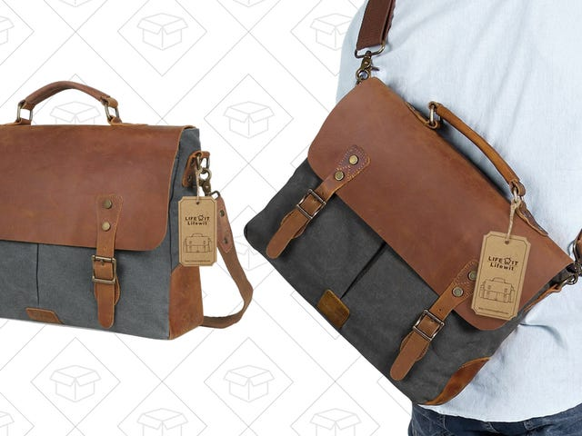 Stuff Your Laptop And More Into This $20 Leather Messenger Bag