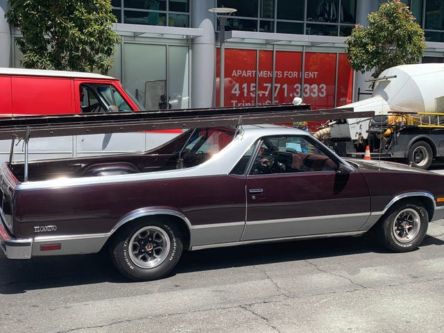 Spotted today in San Francisco, a very determined El Camino owner using his car/truck as a truck/car