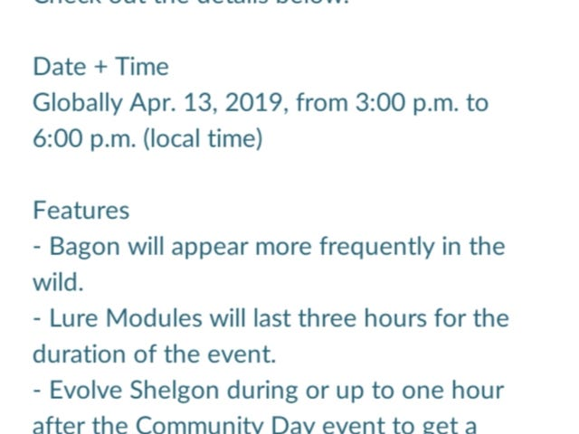 Pokemon Go Community Day: Bagon, Shelgon, Salamence