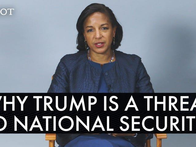 苏珊·赖斯(Susan Rice)打破了为什么特朗普对国家安全构成威胁的话题并聊起了艰难的爱情