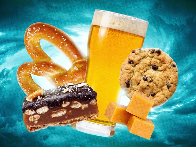 Beer & Pretzel Caramel Cookie Bars can hardly fit all their virtues in one pan