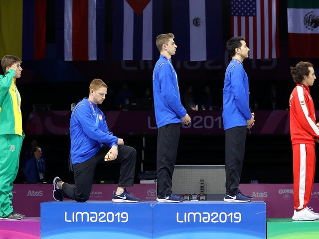 American Fencer, Hammer Thrower Protest On Medal Podium At Pan-American Games