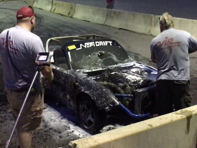 Watched this LS Miata 'splode and burn today