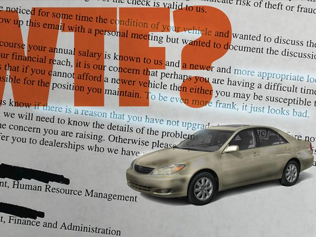 Ese horrible correo electrónico sobre el viejo automóvil de un empleado puede no ser real, pero todavía no puedo soportarlo