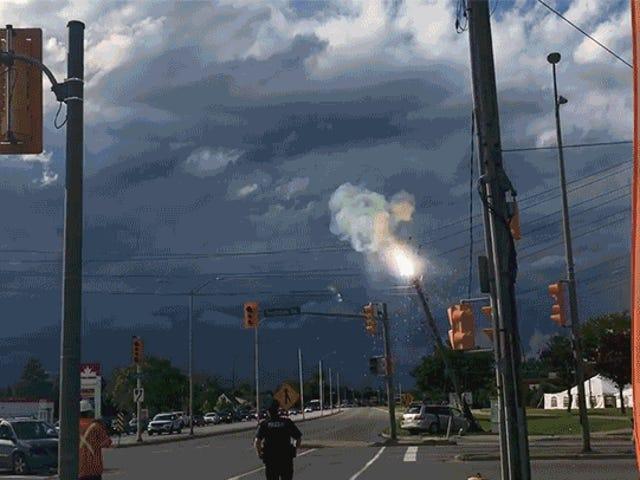 Car Crash Turns Utility Pole Into Fireball-Shooting Mortal Kombat Character