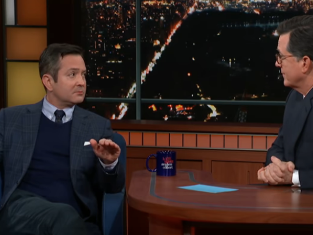On The Late Show, Thomas Lennon shows clips from his first novel—wait, what?