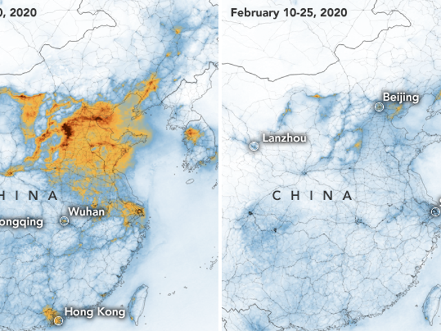 Wskaźniki zanieczyszczenia powietrza w Chinach gwałtownie spadają po zablokowaniu koronawirusa