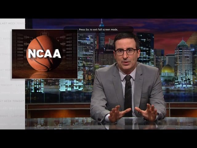 John Oliver Size Mart Çılgınlığı ve NCAA'nın Saçmalık Olduğunu Hatırlatsın
