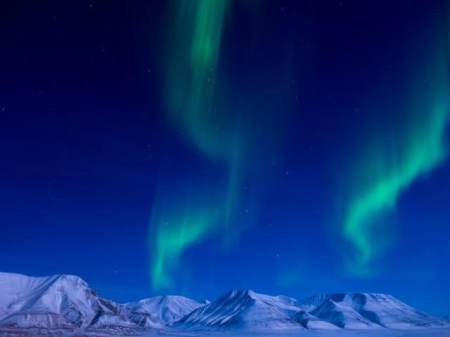 A Brilliant Glimpse of the Aurora Borealis Dancing in the Sky Near the North Pole