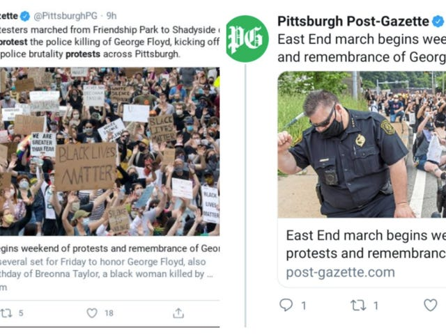 Pittsburgh Paper Removed Police Brutality Stories, Then Republished Them With Pro-Cop Images
