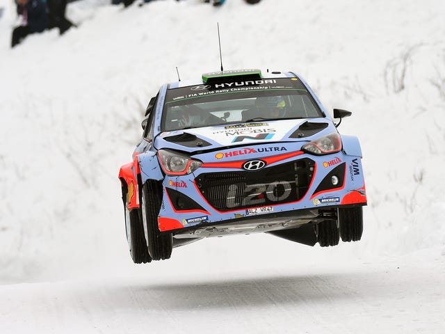[Here we see Hyundai testing their new hovercraft at Rally Sweden over the weekend