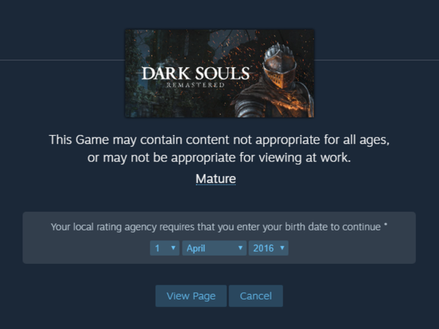 Nope, Those Annoying Steam Age Gates Aren't Going Away