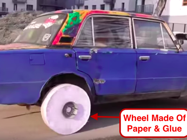 Watch How Well a Wheel Made of 10,000 Sheets of Paper Holds up to Drifting