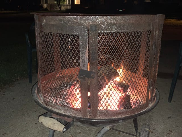 Beer, a book and a fire