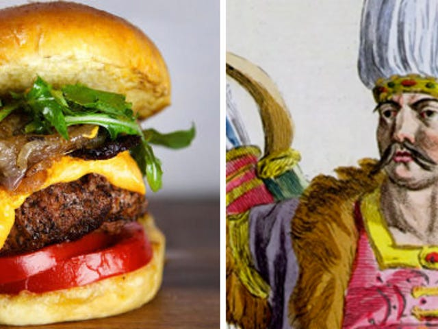 The origin of the hamburger goes back to the time of Genghis Kahn