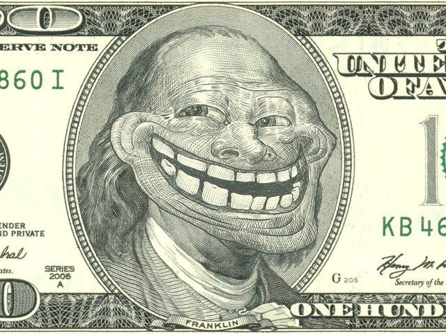 Trollface Meme -tekijä laskee rahansa