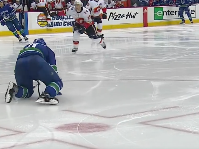 Canucks' Brock Boeser Had To Crawl Off The Ice After Taking A Puck To The Foot