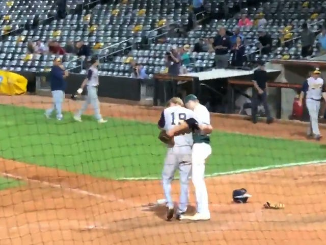 High School Pitcher Strikes Out Childhood Friend To Win Game, Immediately Hugs Him