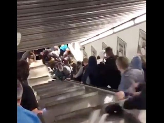 Russian Soccer Fans Injured By Terrifying Escalator Malfunction