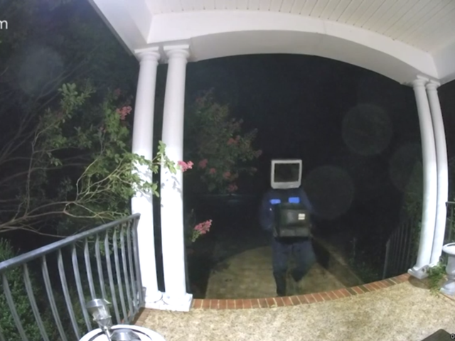 Nothing to See Here, Just Someone or Something With a TV for a Head Leaving TVs on Porches at Night