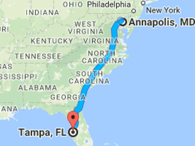 Driving from Annapolis to St. Petersburg, FL. What is Oppo along the way?