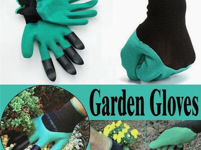 Garden Gloves & 4 Hand Claw ABS Plastic Rubber Gloves