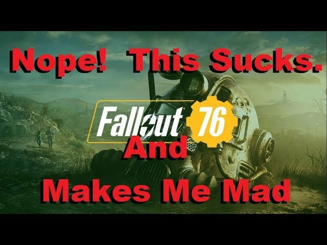 Fallout 76 ... n'est pas un jeu de retombées.